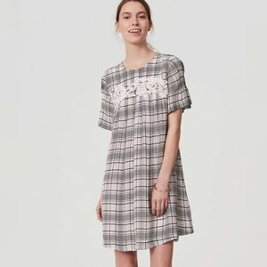 LOFT Embroidered Lace Plaid Pleated Shift Dress